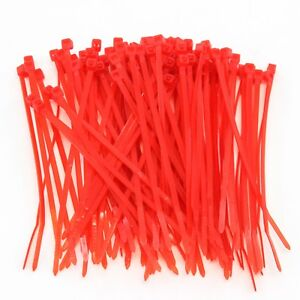"""1000 Heavy Duty 4"""" 18 Pound Cable Zip Ties Nylon Wrap Red"""