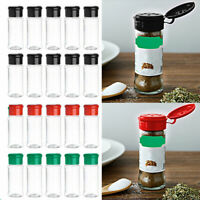 10 Spice Cruet Storage Container Jar Tins With Sifter Lid Flip Top Plastic 100ml