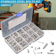 500Pcs M3 M4 M5 Bolts Screws Nuts Hex Button Head Kit Set 304 Stainless Steel