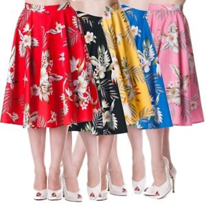 Full circle candy rockabilly hawaii print skirt red Hellbunny sz 8 floral grease