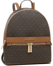 NW💋Michael Kors Kinsley Medium Signature Brown Leather Backpack w/Gold Hardware