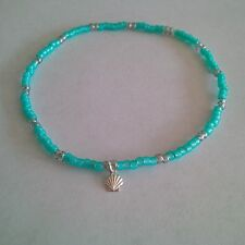 Seed Beads Turquoise / Lt. Gray Stretch Anklet w/ Sterling Silver Seashell Charm