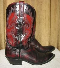 LUCCHESE CLASSICS Men's SLIP-ON HANDMADE LEATHER WESTERN BOOTS Black Cherry 10.5