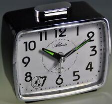 Atlanta despertador de viaje Cuarzo 1654/7 Negro Despertador con campanas NUEVO