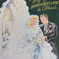 Vintage Mid Century Greeting Card Wedding Blonde Bride Groom Die Cut Dark Green