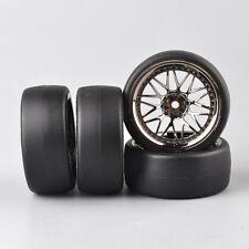 4PCS Sliclk Tire Tyre Wheel For 1:10 Scale RC On Road Drift Car PP0477-BBSM
