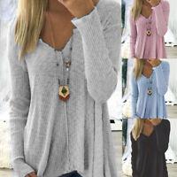 Womens Irregular Long Sleeve Jumper Ladies Baggy T-shirts Blouse Tops Plus TP
