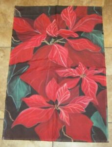 Toland 24x34 Christmas Holiday Red Poinsettia Floral Garden Yard Flag USA Made