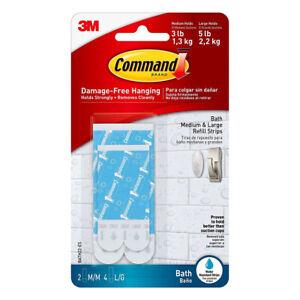 Command Bath Assorted Water Resistant Refill Strips Medium Large Plastic BATH22