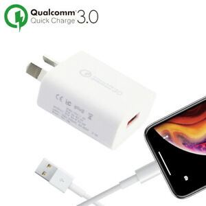 Qualcomm 3.0 FAST Wall Charger&Cable For Apple iPhone 11 Pro Max SE XS XR 8 7 6+