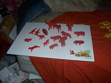 MPC ZOO JUNGLE ANIMAL VINTAGE PLASTIC TOY LOT DIFFERENT SHADES OF RED