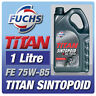 FUCHS TITAN SINTOPOID 1 LITRE SAE 75W-85 GEARBOX OIL FULLY SYNTHETIC AXLE FLUID