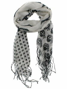 Zac's Alter Ego Long Lightweight Scarf with Graduated Black Pirate Skulls
