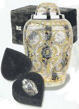 Set of Adult (225 cubic inch) & Keepsake (3 inch) Brass Dynasty Cremation Urns