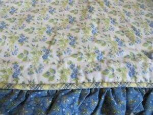 LAURA ASHELY TINY BLUE/GREEN FLORAL STANDARD SHAMS (2) W/ RUFFLE