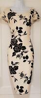 Womens Jacques Vert Cream Black Floral Split Cap Sleeves Occasion Dress 18 Vgc.