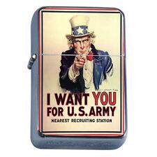 Windproof Refillable Flip Top Oil Lighter Propaganda D1 Political War Poster