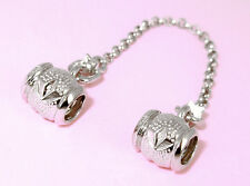SOLID 925 STERLING SILVER + RHODIUM * SAFETY CHAIN * For European Charm Bracelet