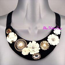 Gold & Cream Enamel Flower Sparkle Celebrity Statement Black Bib Ribbon Necklace