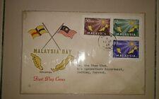 Rare Sarawak State Flag Design Kuching chop Malaysia Day 1963 Merdeka stamp FDC