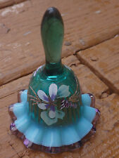 Fenton Spruce Green Opalescent Mini Bell Violet Edge Handpainted Peruvian Lilies