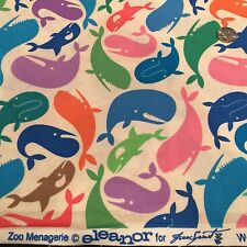 Zoo MenagerIe Whale Multi Color Free Spirit Fabric Adorable!
