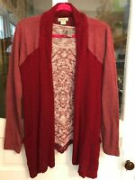 Lucky Brand Cardigan Waterfall Style Red Sz M Includes Free Top with Fringe - M