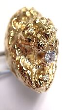 Fabulous! Mens Large Heavy Diamond Solid 10K Yellow Gold Lion Head Ring