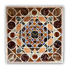 Square Italian Marble Inlay Table Top, Pietre Dure Dining Table Top