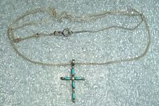 small old Zuni Indian sterling silver turquoise cross pendant on chain necklace