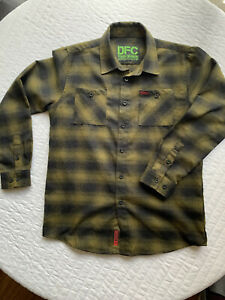 Boys Youth DIXXON Long Sleeve Dark Olive & Black Flannel Button Up Size XL DFC