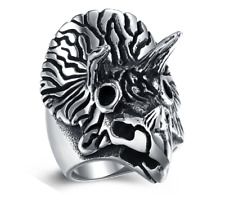 Self Defense Triceratops Battle Ring Size 12 Men's Brand New Gothic Punk