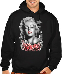 New Men's Marilyn Monroe Star Pink Roses Black Hoodie Sweater Hollywood Sexy