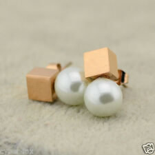 14K Rose Gold Titanium Stainless Steel Square 5mm Cube Link with pearl Earrings