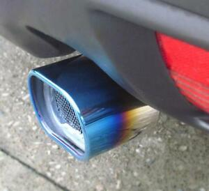 Car Modification Stainless Steel Grilled blue Square tube Car Exhaust Pipe Tip