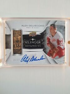Alex Delvecchio 2017-18 Splendor Showpieces Stick Auto 06/27 Detroit Red Wings