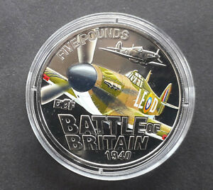 Guernsey 2010 Battle of Britain £5 coloured coin (Five Pounds) Hawker Hurricane