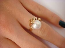 18K YELLOW GOLD LADIES RING WITH 9.5 MM GENUINE PEARL AND DIAMONDS, SIZE 5.5