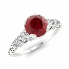 CERTIFIED 1.11 Ct Natural Ruby & Diamond Art Deco Ring 14k White Gold Sz 5.5