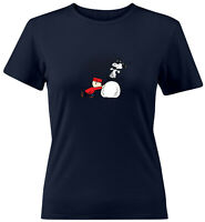 Snoopy Dance Charlie Brown Winter Snow Comics Shirts Juniors Women Tee T-Shirt