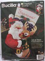 """VTG Bucilla  Felt Applique Santa Rudolph 18"""" Xmas Stocking 83388 Holiday Tree"""