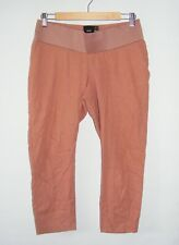 ASOS maternity crop trousers size 10 under bump tapered slim leg linen mix rust