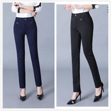 Womens Black Tailored Formal Suit Solid Slim Trousers Ideal for Work Office
