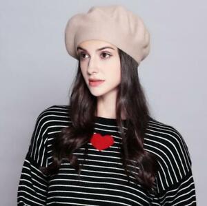 Women Vintage French Style Beret Hat Soft Wool Warm Cap Beanie Winter Autumn