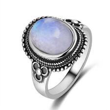 Vintage 925 Silver Oval Natural Rainbow Moonstone Gemstone Simple Design Ring !!