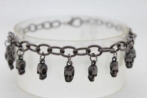 Women Pewter Metal Chain Boot Bracelet Western Shoe Charm Skeleton Black Skulls
