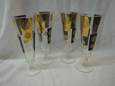 Set of 4 ~ Mid Century Modern Coin Dollar Large Champange Flute Glasses