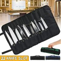 22 Pocket Chef Cutter Roll Bag Portable Carry Case Storage Bag Kitchen Cooking