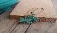 Dragonfly earrings, verdigris patina, long charm dangle, aqua finish
