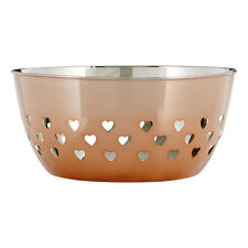 20cm Rose Gold Hearts Fruit Bowl Large Stainless Steel Storage Container Holder